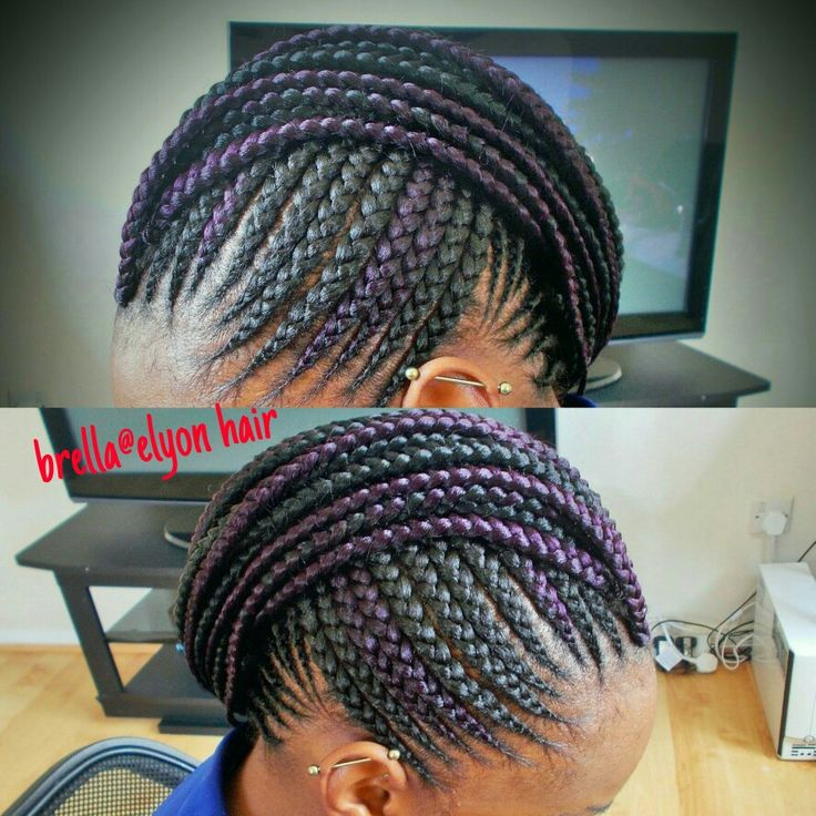 Cornrow mohawk with a hint of color | Natural Hair Style
