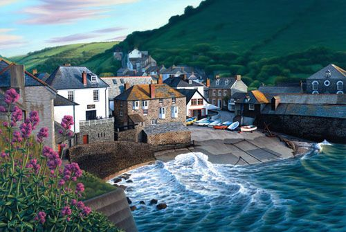Port Isaac Cornwall England color inspiration putple blue light brown white