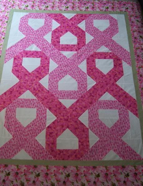 Woven Ribbons pink ribbon quilt