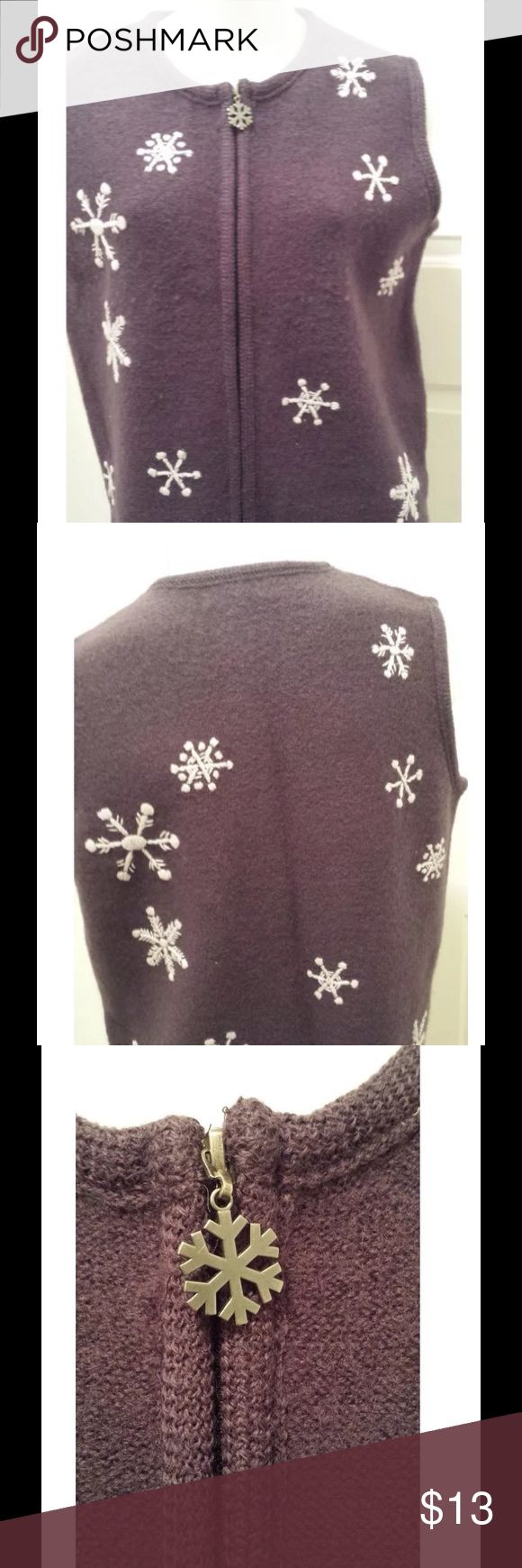 Cabela's Purple Wool Snowflake Zip Up Sweater Vest Cabela's Purple Wool Snowflake Zip Up Sweater Vest. Women's Size Reg. M. There is some pilling on the front of the sweater. Cabela's Sweaters