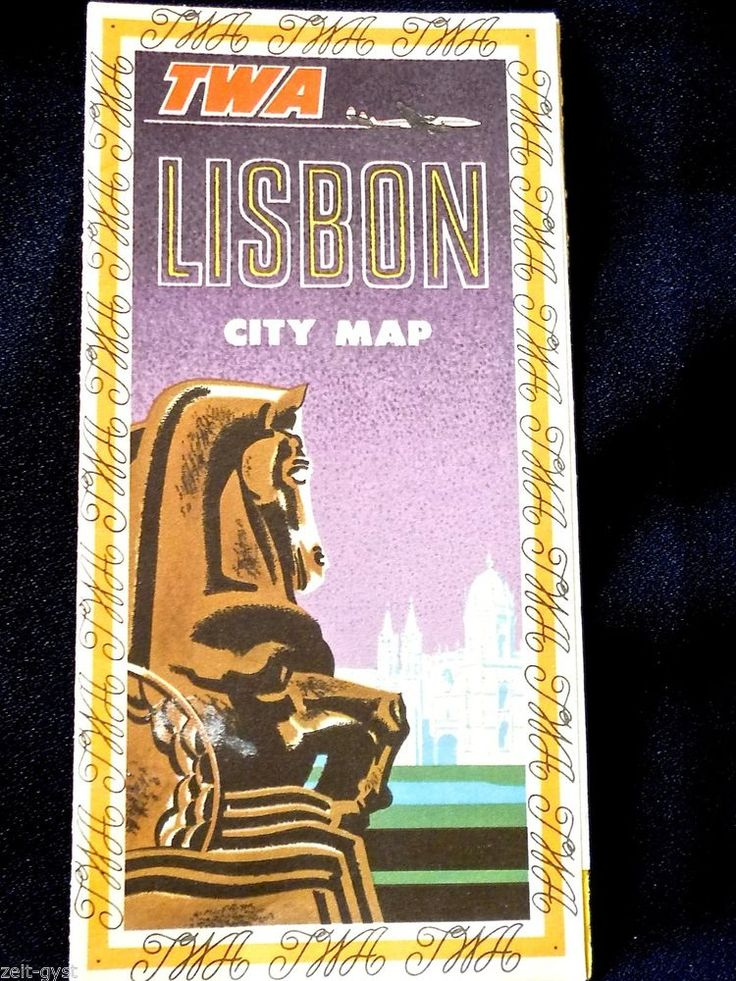 TWA AIRLINES 1950'S AIRLINE LISBON TOURIST MAP-BROCHURE-ILLUSTRATED