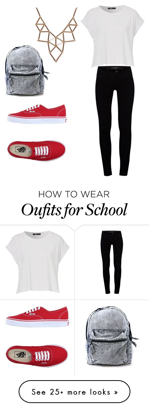 """""""Second day of school"""" by kestly on Polyvore featuring mode, J Brand, Vans et Chicnova Fashion"""