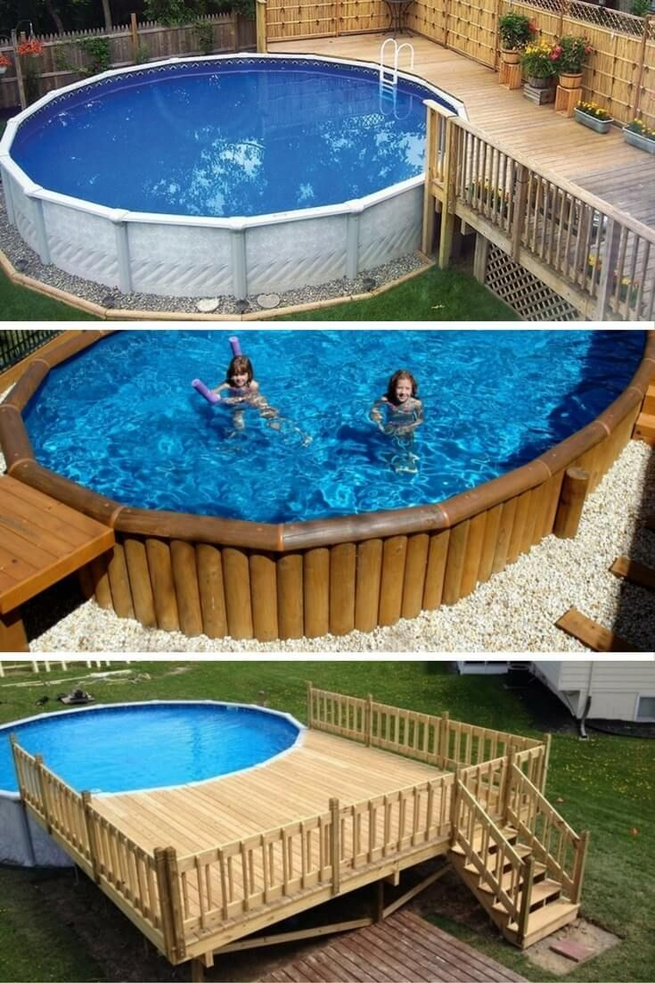 40 uniquely awesome above ground pools with decks ground for Pictures of decks around pools