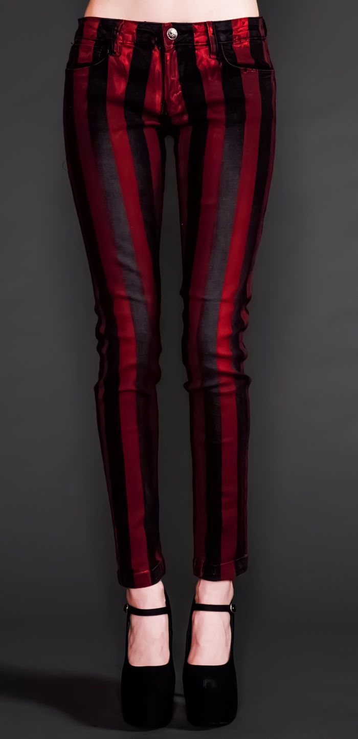 Black and red striped lip service cigarette trousers