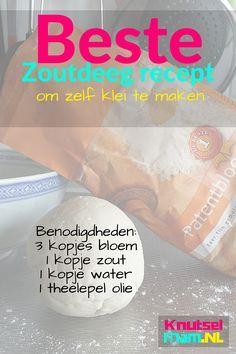 Beste zoutdeeg recept. Na veel proberen eindelijk gevonden. Maak zelf je klei. Met spullen uit je keuken en duidelijk uitleg hoe de klei te maken.