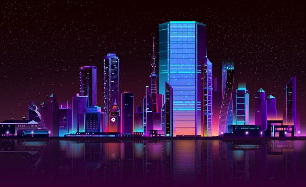 Download Modern City Night Skyline Neon Cartoon For Free In 2020 Night Skyline City Cartoon Modern Metropolis