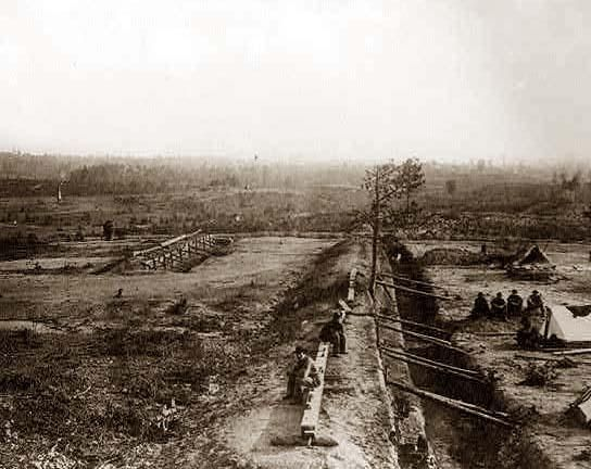 View of Confederate lines just north of Georgia R.R. looking south, [Atlanta, Georgia, 1864]