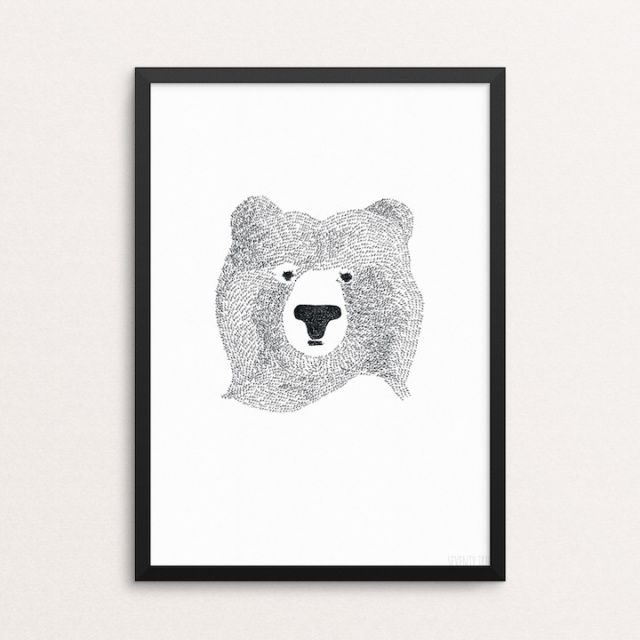 The first printintroduced to Seventy Tree and he still continues to be loved worldwide!Look closely and you'll see he is drawn almost entirely from the word 'bear'Size A4(29.7cm x 21cm) - Printed on 250gsm FSC Eco paper with vegetable inks for a long lasting print.(Frame not supplied).By Seventy Tree #kidsdecor #print #bearprint #decor