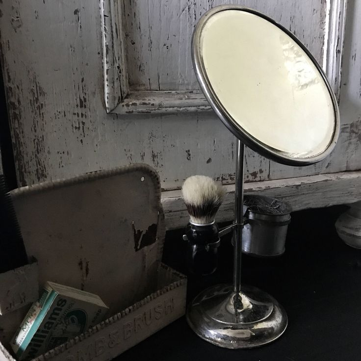 Shabby shaving set,  Antique Mirror by Eclecticpelican on Etsy https://www.etsy.com/listing/538380800/shabby-shaving-set-antique-mirror