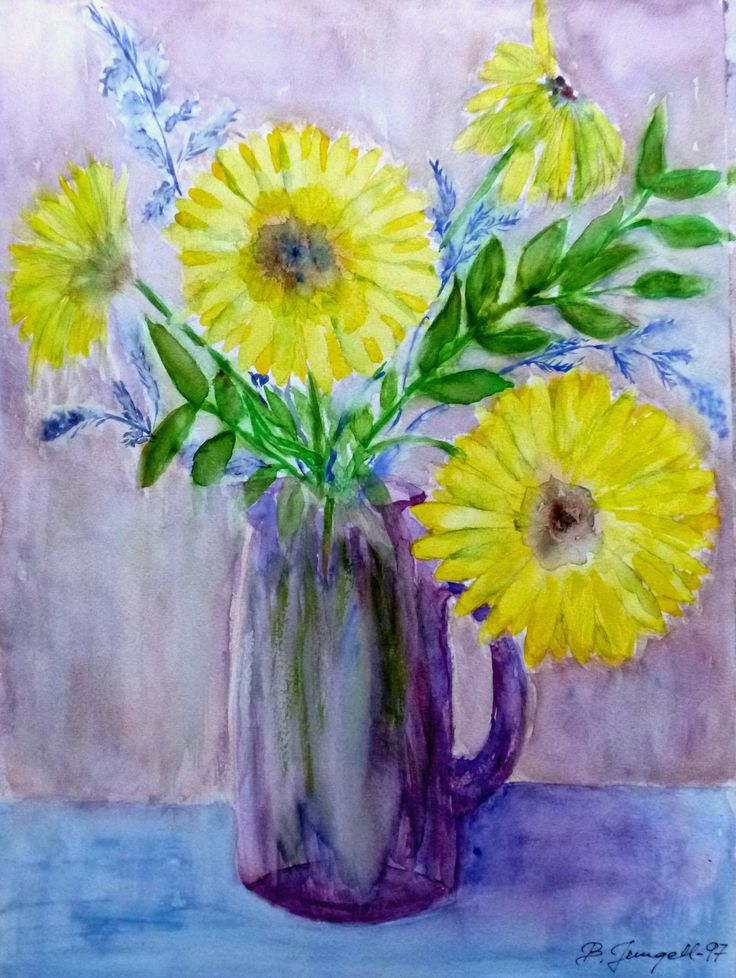 """""""Still life with yellow flowers"""" Original watercolor painting by Britta Bergström-Jungell."""