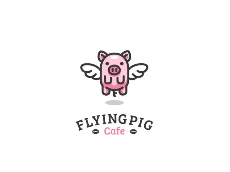 Flying Pig animation #gif #animation #cafe #coffee # pig #flying #wings #logo #identity #brand #design #illustration #character #mascot #kreatank