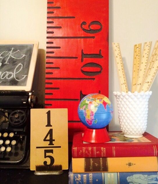 make a back to school mantle with vintage school finds