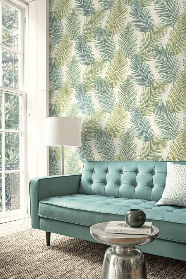 Key West Palm Wallpaper from Wallquest's Destination USA Collection. Tropical palm leaves create a fun and colorful modern look.