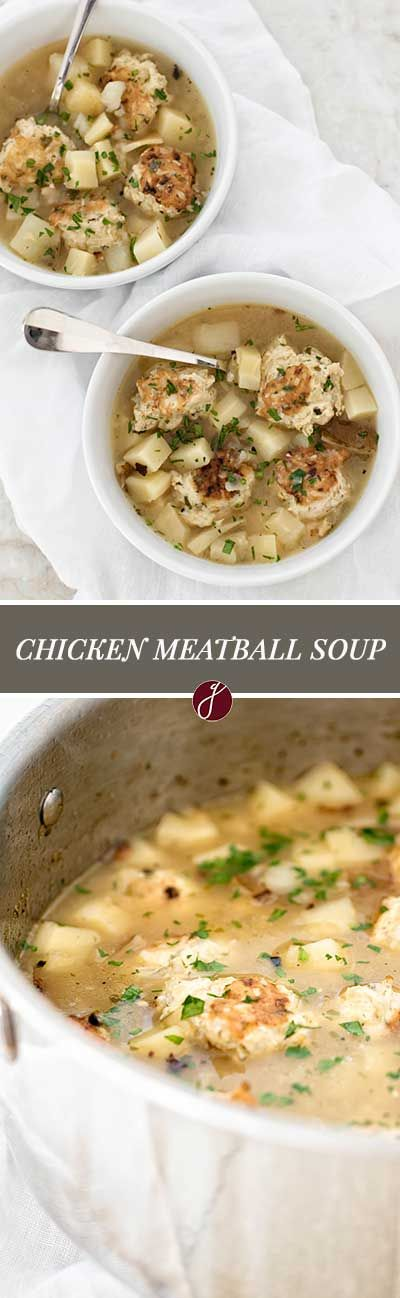 Comforting chicken meatball soup with potatoes and parsnips | girlgonegourmet.com