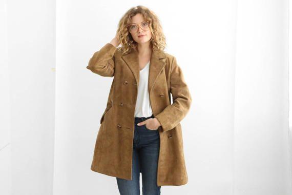 Brown Suede Trench Coat, longue veste de daim Caramel, Boho Suède manteau 70 / Festival de l'air / de taille petite à moyenne