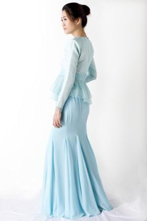 Blue Silk Peplum Top with Chiffon Flare Skirt
