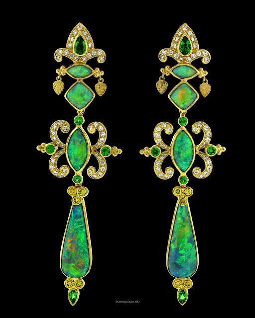 Earrings in 18-karat gold with opal drops, tourmaline and peridot by Paula Crevoshay