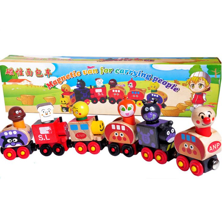 Baby Toys Anpanman Set Magnetic Van For Carrying People Train Wooden Toys Magnetic Vehicle Blocks Kids Educational Gift