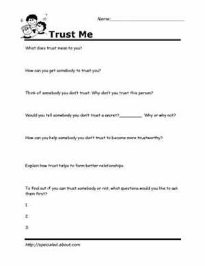 Worksheets You Can Print to Build Social Skills: Trust Me