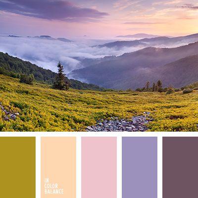 баклажанный, зеленый, насыщенный оливковый, нежный оранжевый, нежный розовый, оливковый, персиковый, розовый, розовый и фиолетовый, темно-фиолетовый, фиолетовый, цвет выгоревшей травы, цвет заката, цвета закатного неба.