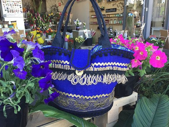 summer beach bag, Blue cotton hessian bag with gold and black trim by belaciganabags https://www.etsy.com/au/listing/489173381/unique-fashion-shopper-bag?ref=shop_home_active_1  and facebook:  https://www.facebook.com/belacigana/  bohemian hippie bag, resort bag, beach bag.
