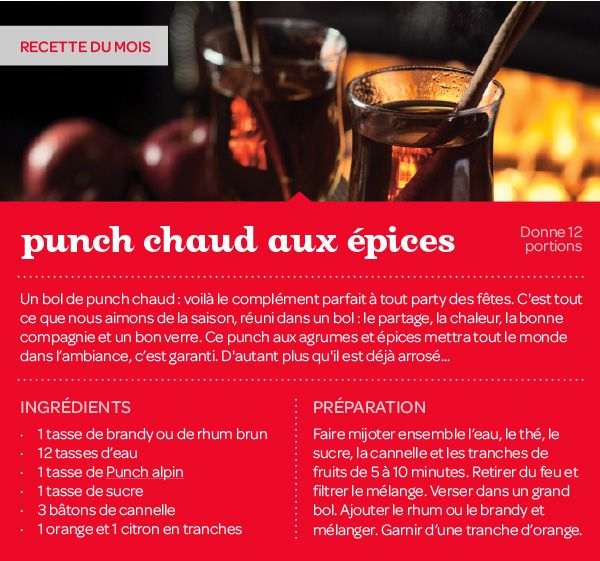 Recette du mois : Punch chaud aux épices