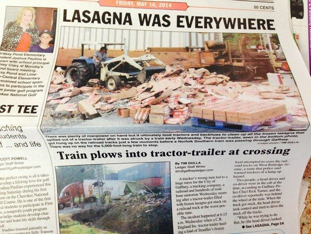 """For my journalism class :) """"Remember: If it bleeds, it leads. Also, if it's lasagna. 