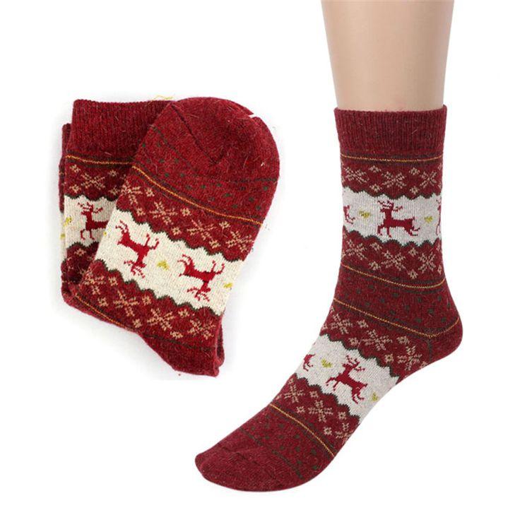 Горячая Марка Рождественский Олень Дизайн Повседневная Вязать Шерстяные Носки Теплые Зимние Мужские Женщины купить на AliExpress