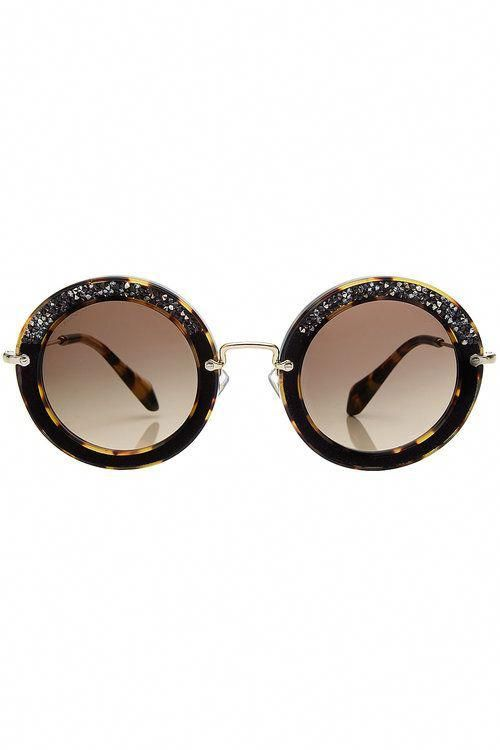 e098ed50f41 MIU MIU Noir Embellished Round Sunglasses With Suede.  miumiu ...
