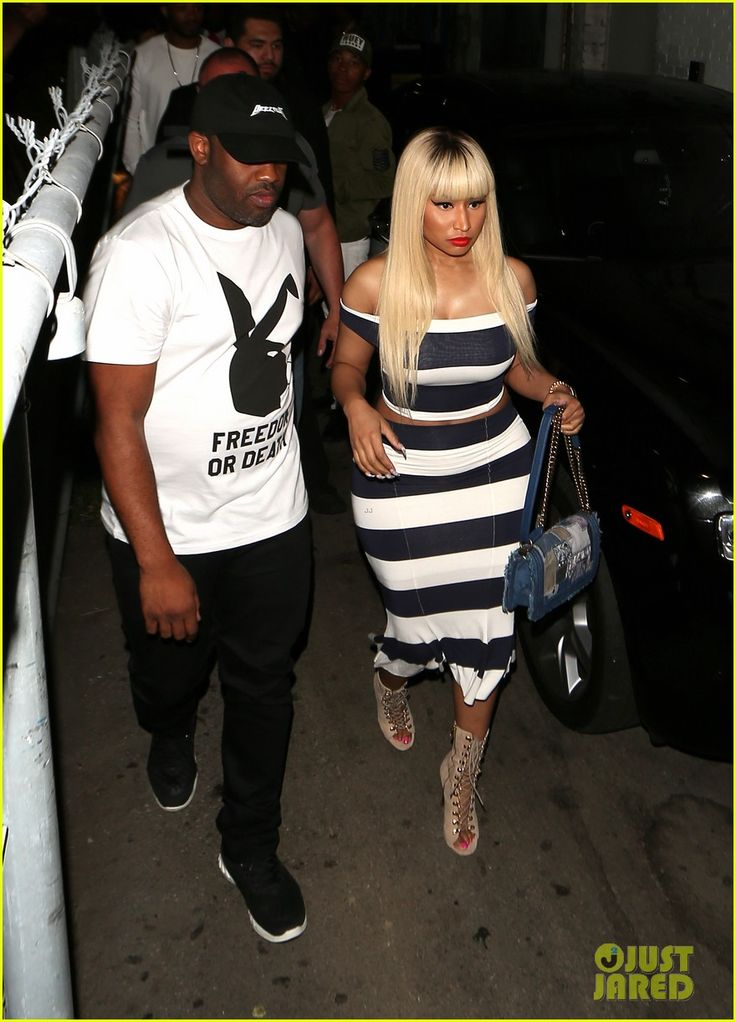 Nicki Minaj Stuns in Stripes at Meek Mill's Playhouse Party