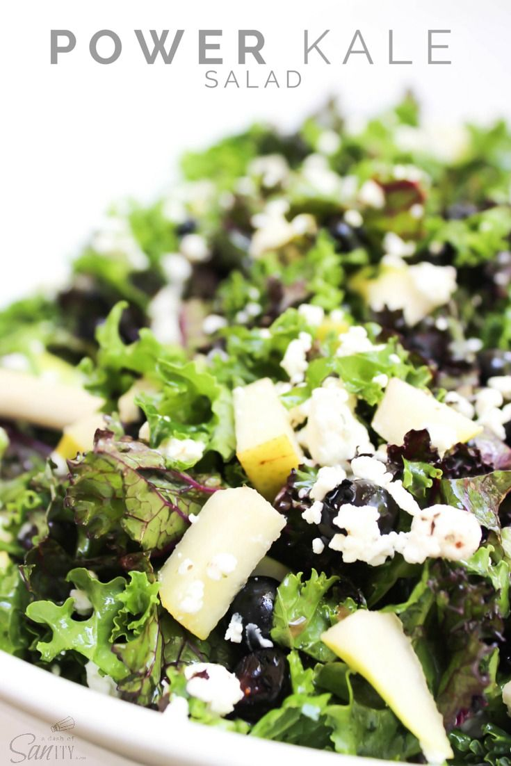 Power Kale Salad | purple & green kale, crumbled goat cheese, blueberries, pears, & pecans tossed with a lemon dressing