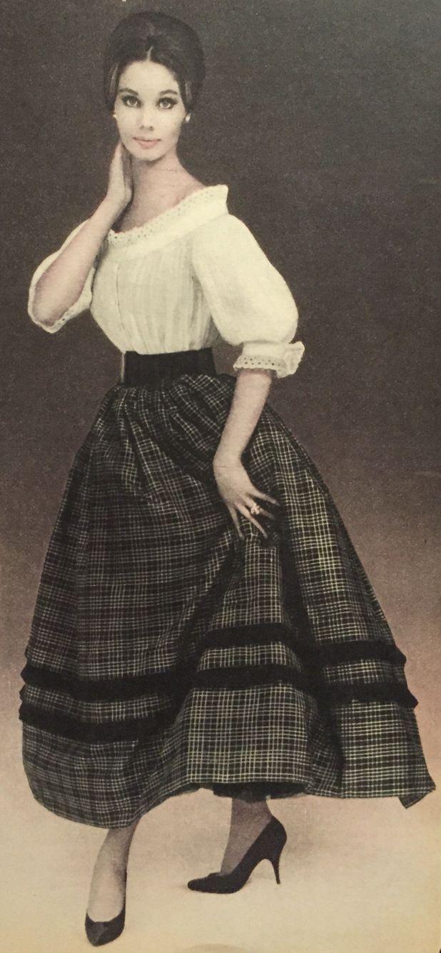 Maggy Rouff- 1959 White eyelet ruffle off shoulder blouse ...