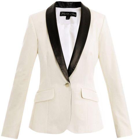 ELIZABETH AND JAMES Jackets for Women | Elizabeth And James Rex Leatherlapel Tuxedo Jacket in White (ivory ...