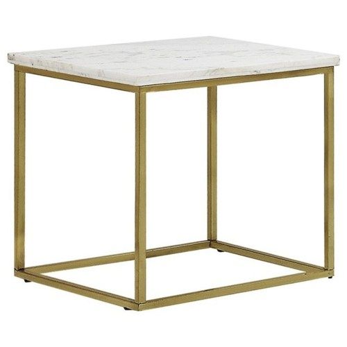 Donny Osmond Home Home Accents White Marble Top End Table With Brass Legsu2026