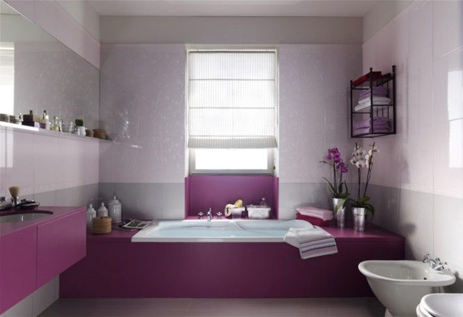 Purple white feminine bathroom design