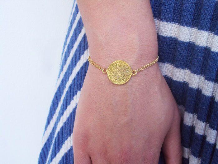 Dainty Gold Bracelet, Greece Jewelry, Phaistos Disc Bracelet, Greek Bracelet, Greek Jewelry, 14K Gold Bracelet, Cretan Disc, Phaestos Disc by VasiaAccessories on Etsy