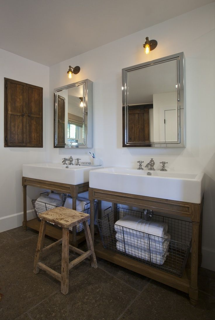 love the large sinks in this bathroom | Farmhouse sink ... on Rustic:s9Dkpzirpk8= Farmhouse Bathroom  id=34435