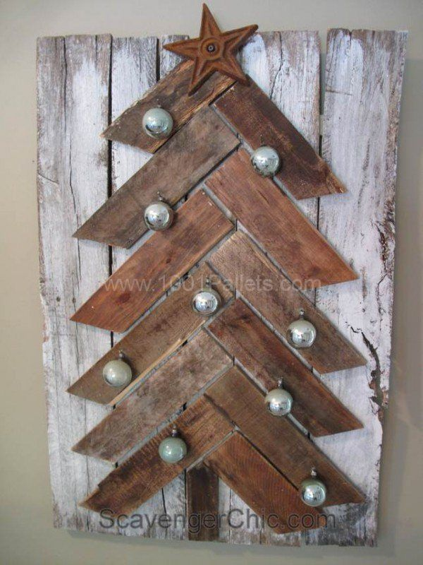Pallet Wood Christmas Tree With Pallet Leftovers Home Decorations Pallet Projects