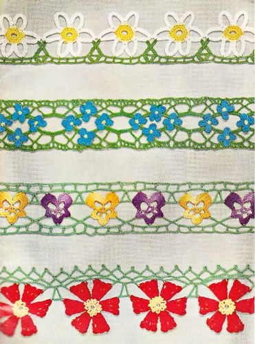 Vintage crochet pattern for flower edgings- use the individual flowers for pins, corsages etc.....