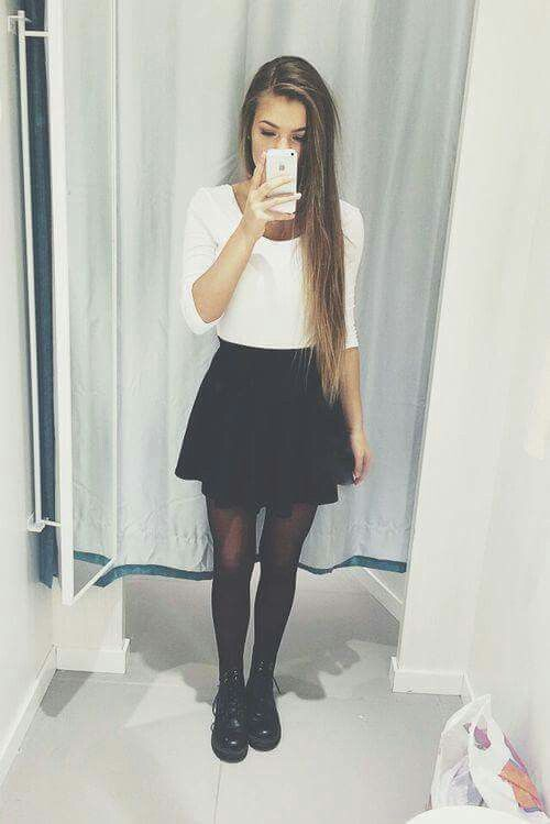 b0a3253d55 outfit falda circular negra