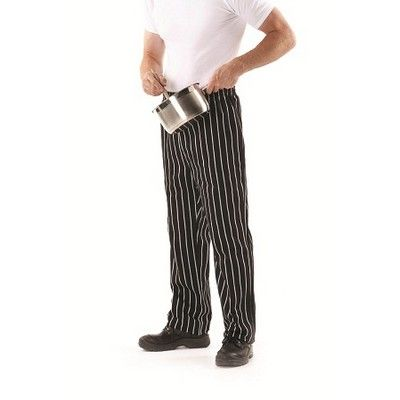 Striped Custom Made Chefs Pant Min 25 - 65/35 Poly Cotton, Elastic Waist with Cotton Drawcord, Both Side Pockets, Two Back Pockets, Stripe Fabric. http://www.promosxchange.com.au/striped-custom-made-chefs-pant/p-8579.html