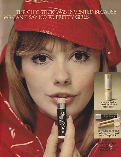 """CHAP STICK ad 1967. 'The """"Chic Stick""""was invented because we can't say no to pretty girls.'"""