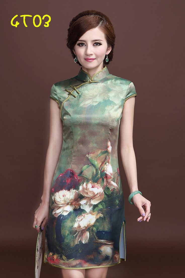 Ok wedding gallery the beauty dress of cheongsam 2013 - Free Shipping 2013 Vintage Quality Silks And Satins Fancy Silk Mulberry Silk Cheongsam Dress Short