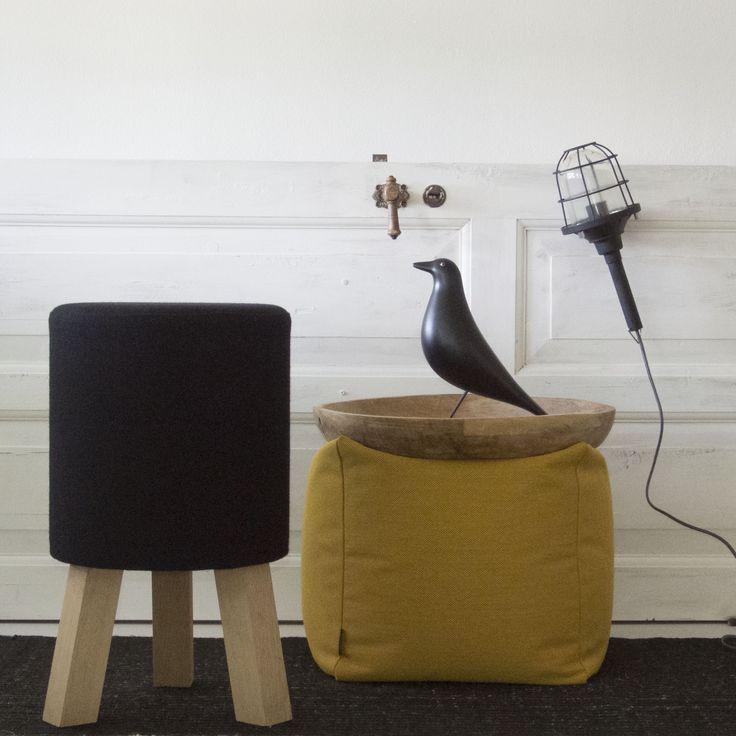 SEATING   Stool designed by Anne Boysen and Otto pouf designed by Bent Hansen Studio. Indretning, bolig, skammel, puf, boliginspiration