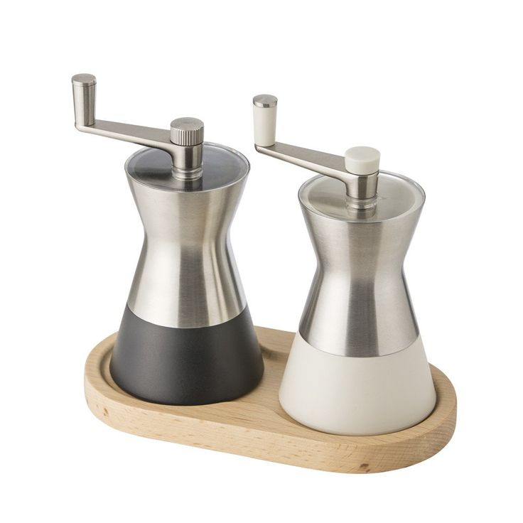 SALT & PEPPER MILL SET Release the flavours of food in the kitchen and the dining room with this stylish salt and pepper mill set by Bluebird. This stainless steel set with ceramic grinders sits on a beech wood caddy and is activated with a crank handle for ease of use whilst cooking. #SaltPepperMillSet #Bluebird #SaltandPepper #FoodPrep #FoodPreperation