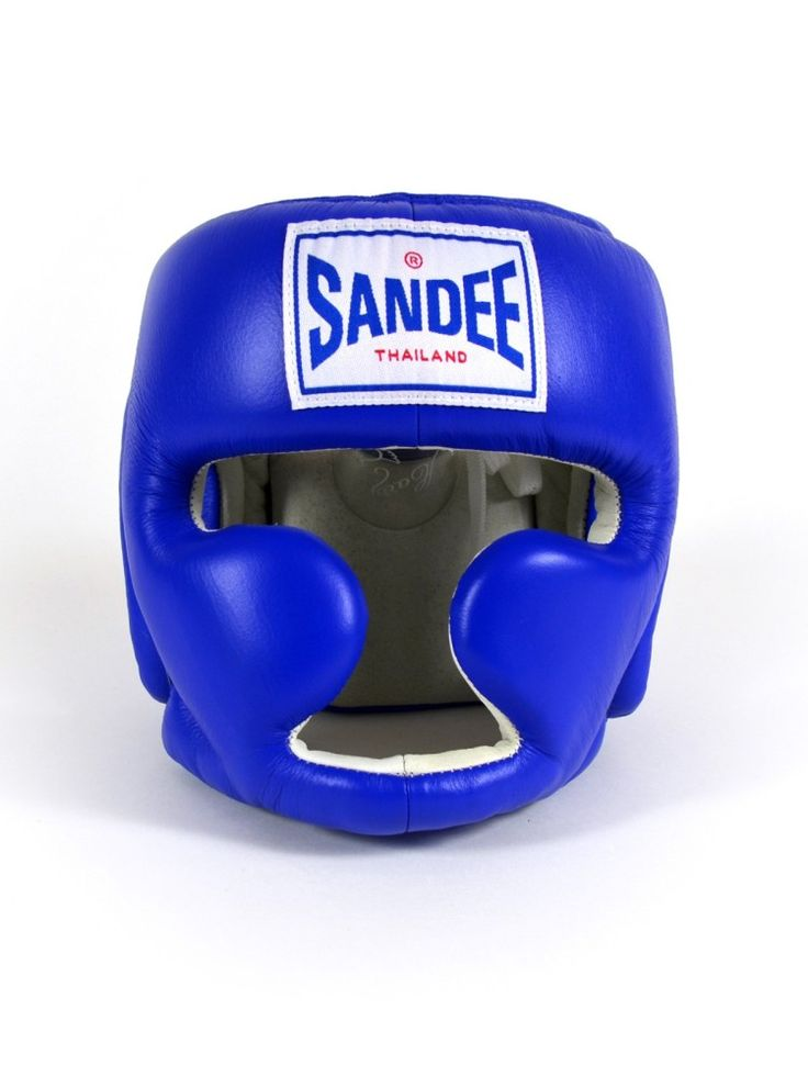 Sandee Closed Face Synthetic Leather Head Guard - Blue & White - Kids