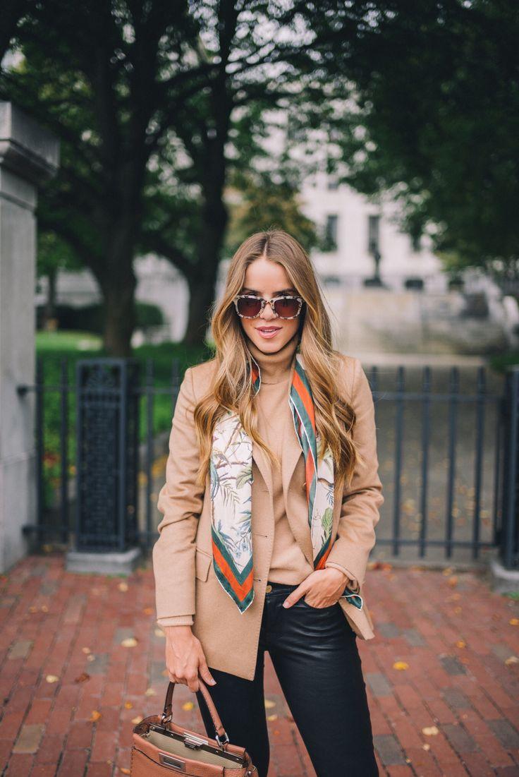 Gal Meets Glam 24 Hours In Boston - Max Mara blazer, Vince turtleneck, Frame leather pants, Halogen booties, Gucci scarf & Fendi Bag