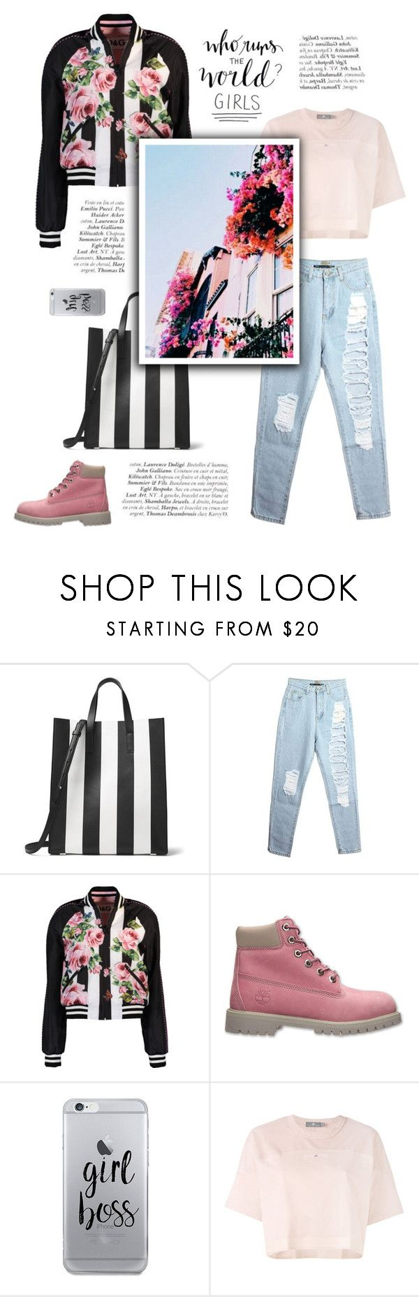 """""""Pink power"""" by little-vogue on Polyvore featuring Michael Kors, Dolce&Gabbana, Timberland, Fifth & Ninth, adidas, Pink, fashionset and polyvorefashion"""