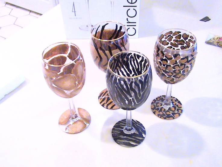 18 best images about animal print wine glasses on pinterest for How to paint a wine glass with acrylics