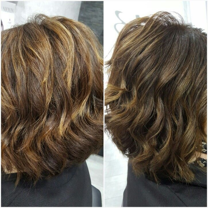 Hightlight brunette honey Wavy Hair  Wob cut hair